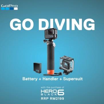 GoPro HERO6 Black DIVE Bundle (Battery+Handler Floating Hand Grip+Supersuit)
