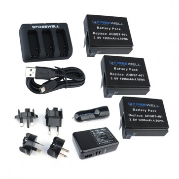 Freewell GoPro HERO4 Charging Kit with 3-Pack Battery, Triple Charger, Car Charger and 4 USB Wall Adapter with Worldwide Plugs