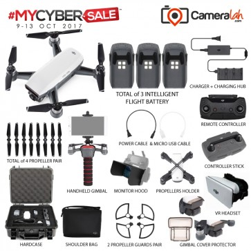 MYCYBERSALE DJI Spark Fly More PREMIUM Combo with Total 3 Batteries (White)