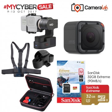 MYCYBERSALE GoPro HERO5 Session Special Bundle (FeiyuTech WG2+Smatree G160P Case+Chesty Head Strap Combo+SanDisk 32GB Extreme)