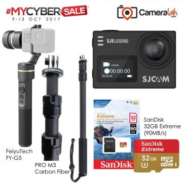 MYCYBERSALE SJCAM SJ6 Legend (BLACK) Special Bundle (Carbon Fiber Monopod+FeiyuTech G5+SanDisk 32GB Extreme)