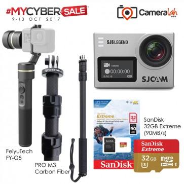 MYCYBERSALE SJCAM SJ6 Legend (SILVER) Special Bundle (Carbon Fiber Monopod+FeiyuTech G5+SanDisk 32GB Extreme)