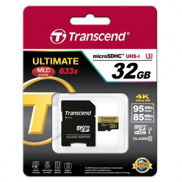 Transcend Micro SDHC UHS-I U3 32 GB Class 10 Memory Card + Adapter - 95 MB