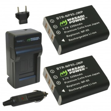Wasabi Power Battery (2-Pack) and Charger Kit for Fujifilm NP-95