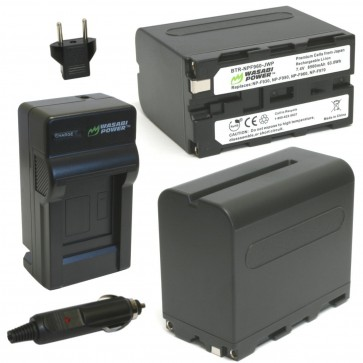Wasabi Power Battery (2-Pack) and Charger Kit for Sony NP-F975, NP-F970, NP-F960,NP-F950