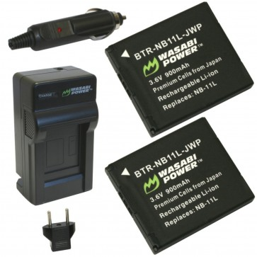 Wasabi Power Battery (2-Pack) and Charger Kit for Canon NB-11L