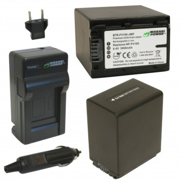 Wasabi Power Battery (2-Pack) and Charger Kit for Sony NP-FV100