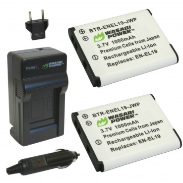Wasabi Power Battery (2-Pack) and Charger Kit for Nikon EN-EL19