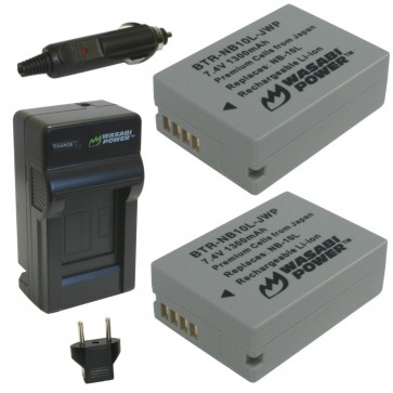 Wasabi Power Battery (2-Pack) and Charger Kit for Canon NB-10L