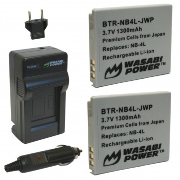 Wasabi Power Battery (2-Pack) and Charger Kit for Canon NB-4L
