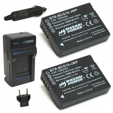 Wasabi Power Battery (2-Pack) and Charger Kit for Panasonic DMW-BCG10, DMW-BCG10E,DMW-BCG10PP,