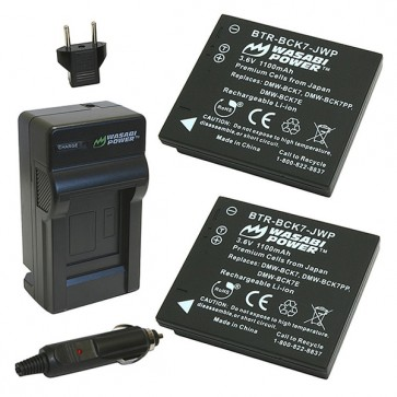 Wasabi Power Battery (2-Pack) and Charger Kit for Panasonic DMW-BCK7