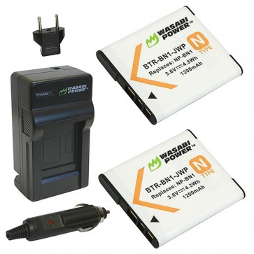 Wasabi Power Battery (2-Pack) and Charger Kit for Sony NP-BN1