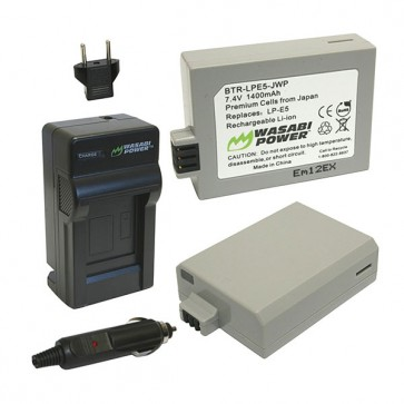 Wasabi Power Battery (2-Pack) and Charger Kit for Canon LP-E5