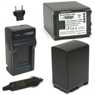 Wasabi Power Battery (2-Pack) and Charger Kit for Canon BP-828