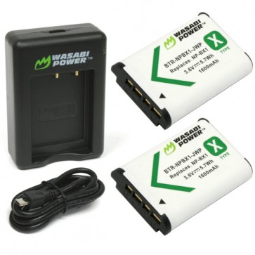 Wasabi Power Battery (2-Pack) and Dual Charger for Sony NP-BX1