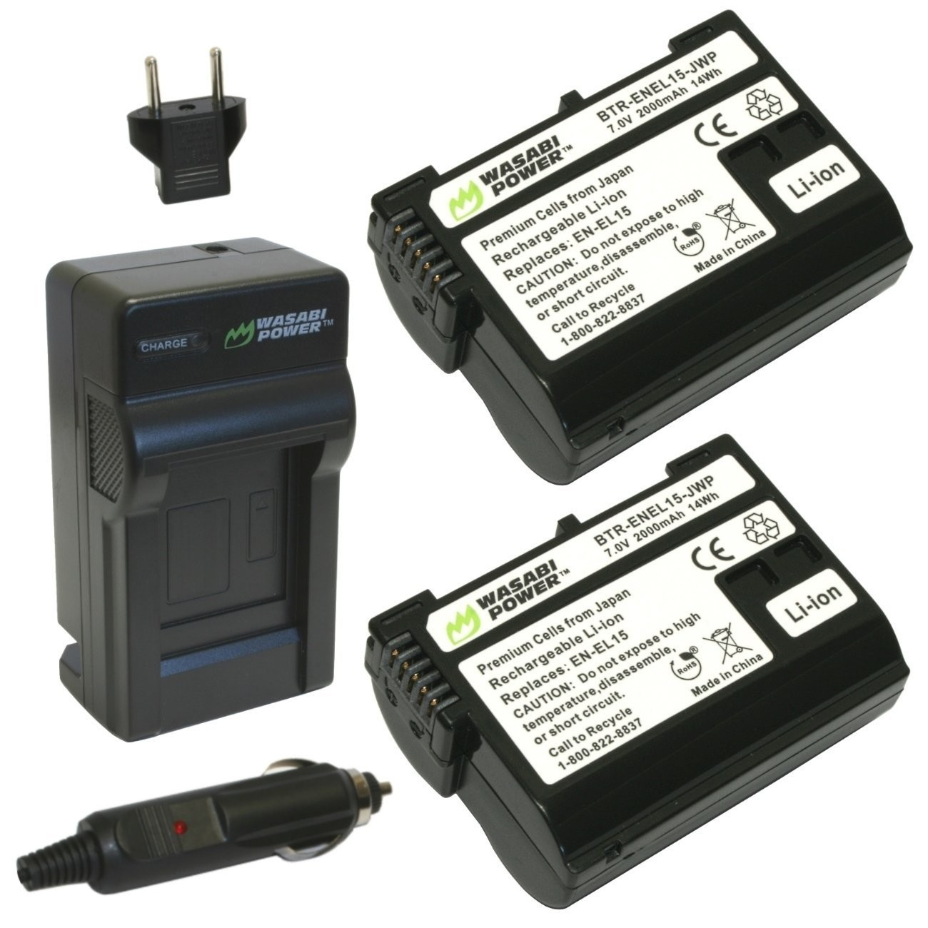 Wasabi Power Battery (2-Pack) and Charger Kit for