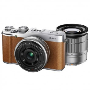Fujifilm X-M1 Twin Lens Kit with XC 16-50mm + 27mm Lens (Brown)
