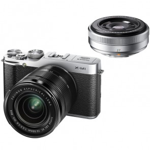 Fujifilm X-M1 Twin Lens Kit with XC 16-50mm + 27mm Lens (Silver)