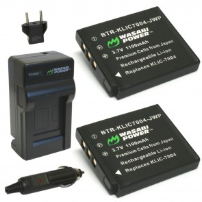 Wasabi Power Battery (2-Pack) and Charger Kit for Kodak KLIC-7004, Fuji NP-50, BC-50