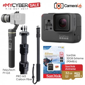 MYCYBERSALE GoPro HERO5 Black Special Bundle (Carbon Fiber Monopod+FeiyuTech G5+SanDisk 32GB Extreme)
