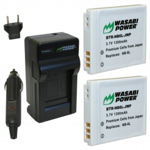 Wasabi Power Battery (2-Pack) and Charger Kit for Canon NB-6L
