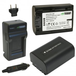 Wasabi Power Battery (2-Pack) and Charger Kit for Sony NP-FV50