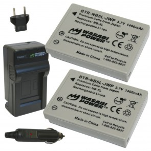 Wasabi Power Battery (2-Pack) and Charger Kit for Canon NB-5L