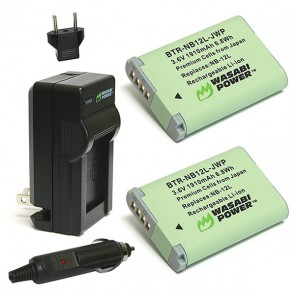 Wasabi Power Battery (2-Pack) and Charger Kit for Canon NB-12L