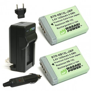 Wasabi Power Battery (2-Pack) and Charger Kit for Canon NB-13L