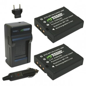 Wasabi Power Battery (2-Pack) and Charger Kit for Casio NP-130