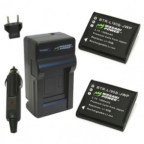 Wasabi Power Battery (2-Pack) and Charger Kit for Olympus LI-90B