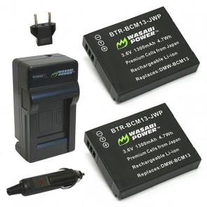 Wasabi Power Battery (2-Pack) and Charger Kit for Panasonic DMW-BCM13