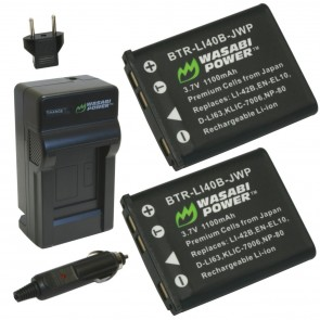 Wasabi Power Battery (2-Pack) and Charger Kit for Olympus LI-40B LI-42B