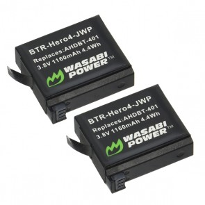 Wasabi Power Battery AHDBT-401 for GoPro HERO4 (2 Pack)