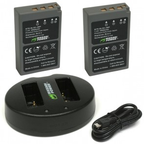 Wasabi Power Battery (2-Pack) and Dual Charger for Olympus BLS-5, BLS-50, PS-BLS5
