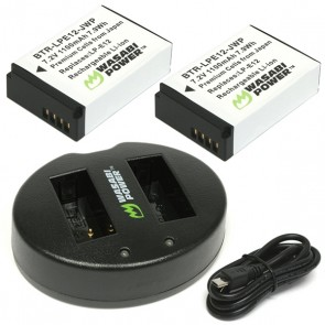 Wasabi Power Battery (2-Pack) and Dual Charger for Canon LP-E12