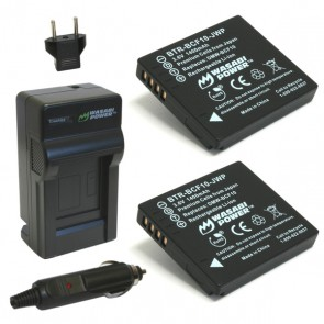 Wasabi Power Battery (2-Pack) and Charger Kit for Panasonic DMW-BCF10, DMW-BCF10E, DMW-BCF10PP