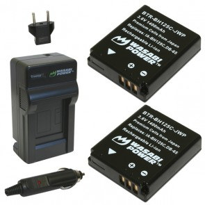 Wasabi Power Battery (2-Pack) and Charger Kit for Samsung BH125C / Ricoh DB-65