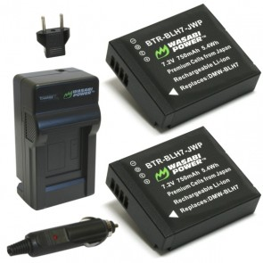 Wasabi Power Battery (2-Pack) and Charger Kit for Panasonic DMW-BLH7