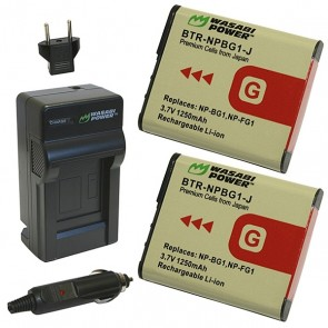 Wasabi Power Battery (2-Pack) and Charger Kit for Sony NP-BG1